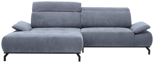 WOHNLANDSCHAFT in Textil Grau - Schwarz/Grau, Design, Textil/Metall (175/270cm) - Carryhome