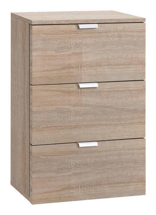 NACHTKÄSTCHEN Eichefarben - Eichefarben/Alufarben, Design, Metall (40/61/42cm) - Carryhome