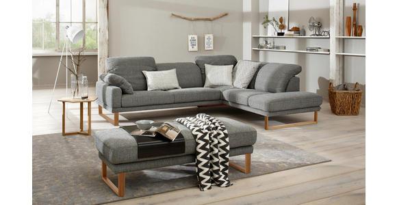 WOHNLANDSCHAFT Grau Flachgewebe  - Eichefarben/Grau, Design, Holz/Textil (281/226cm) - Valnatura