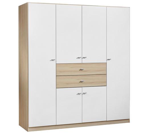 KLEIDERSCHRANK 6-türig Weiß, Eichefarben - Eichefarben/Silberfarben, Basics, Holz/Kunststoff (181/197/54cm) - Carryhome
