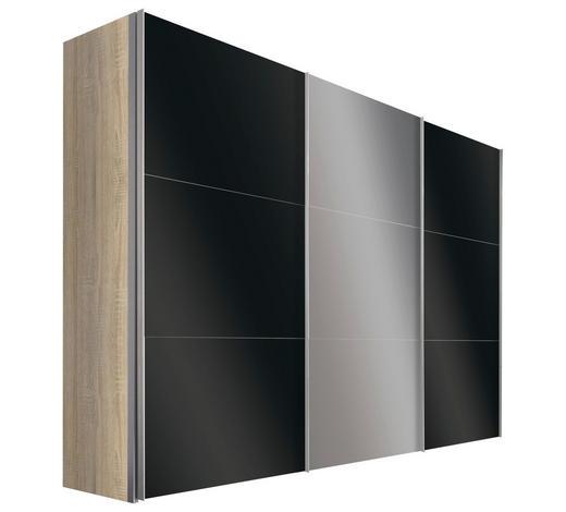 SCHWEBETÜRENSCHRANK in Sonoma Eiche  - Alufarben/Sonoma Eiche, Design, Glas/Holzwerkstoff (300/236/68cm) - Hom`in