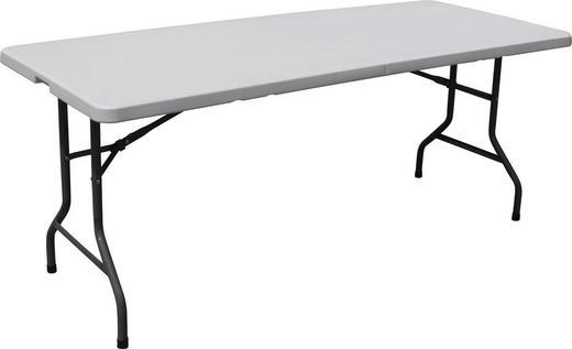GARTENKLAPPTISCH Kunststoff, Metall Weiß - Weiß/Grau, Basics, Kunststoff/Metall (242/74/76cm)