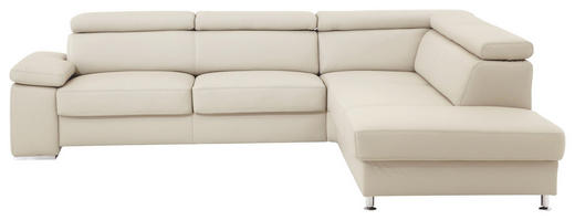 WOHNLANDSCHAFT in Leder Beige - Beige/Alufarben, Design, Leder/Metall (275/226cm) - Beldomo Premium