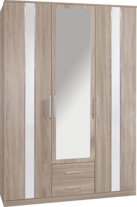 DREHTÜRENSCHRANK 3  -türig Eichefarben, Weiß - Eichefarben/Alufarben, Design, Glas/Holzwerkstoff (135/200/60cm) - CARRYHOME