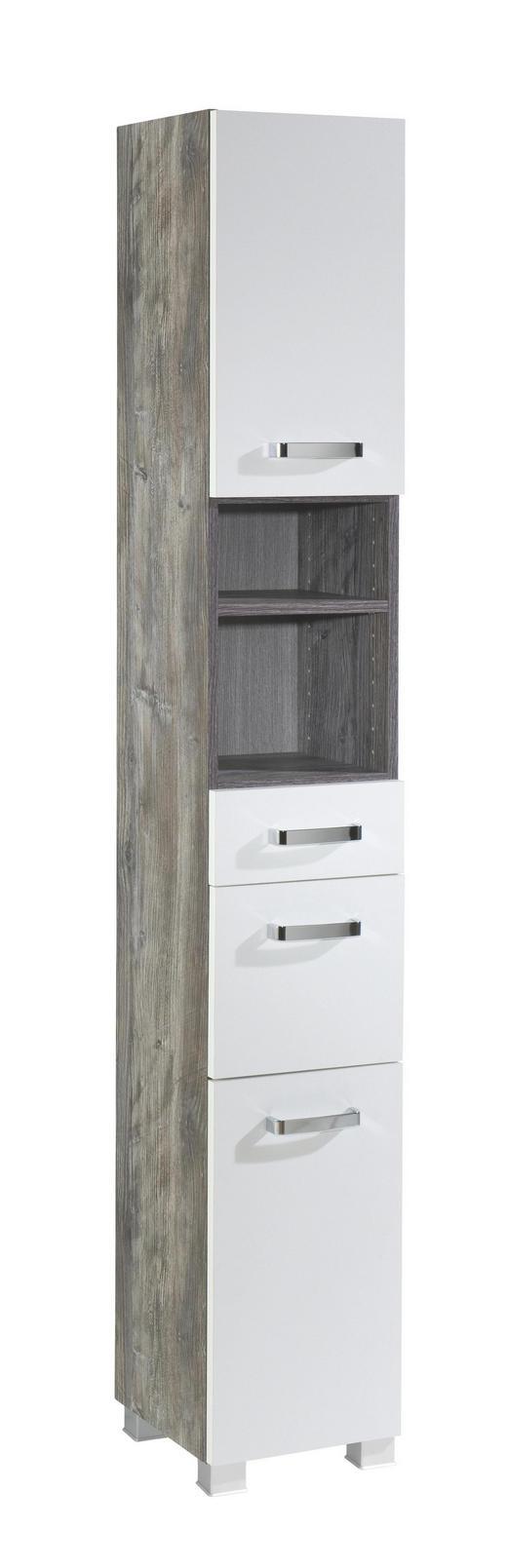 HOCHSCHRANK Weiß - Eichefarben/Silberfarben, Design, Holzwerkstoff/Kunststoff (30/180/27cm) - Carryhome