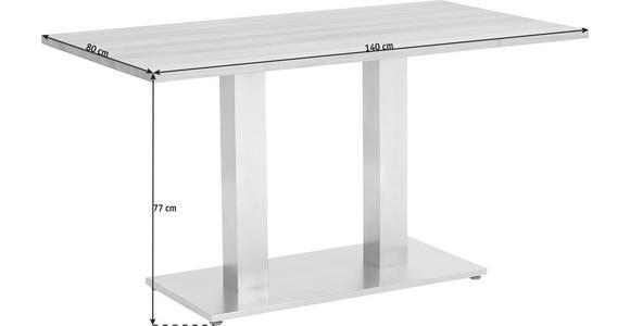 ESSTISCH in Edelstahlfarben, Weiß - Edelstahlfarben/Weiß, Design, Glas/Metall (140/80/77cm) - Dieter Knoll