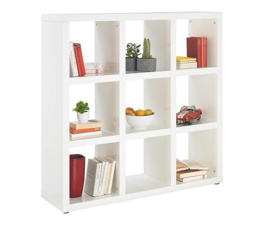 DĚLICÍ STĚNA, bílá - bílá/barvy hliníku, Design, kompozitní dřevo/umělá hmota (123/124/35cm) - Carryhome