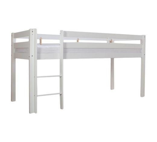 MITTELHOHES BETT - Weiß, Design, Holz (90/200cm)