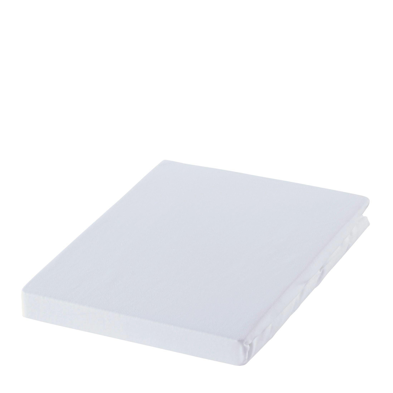 SPANNBETTTUCH Zwirn-Jersey Weiß bügelfrei, für Wasserbetten geeignet - Weiß, Basics, Textil (200/200cm) - ESTELLA