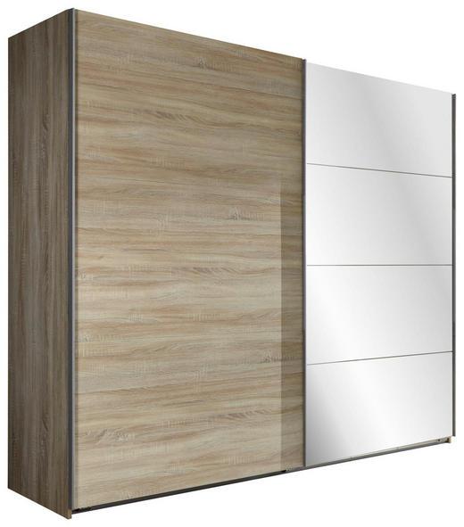 SCHWEBETÜRENSCHRANK 3  -türig Eichefarben - Eichefarben/Alufarben, Design, Glas/Holzwerkstoff (225/210/59cm) - Carryhome