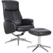 POČIVALNIK,  črna, krom kovina, tekstil - črna/krom, Design, kovina/tekstil (71/104-92/72,5-106cm) - Xora