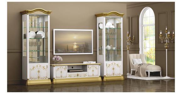 VITRINE in Weiß, Goldfarben  - Goldfarben/Weiß, LIFESTYLE, Glas/Holzwerkstoff (76/209/53cm) - Cantus
