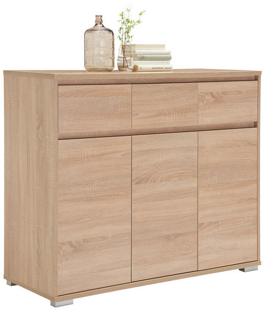 KOMODA, hrast sonoma - aluminij/hrast sonoma, Design, leseni material (120/103/48cm) - Carryhome