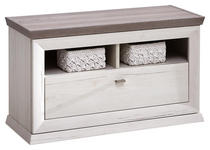 GARDEROBENBANK 85,2/50,5/38,3 cm  - Weiß/Grau, LIFESTYLE, Holzwerkstoff/Metall (85,2/50,5/38,3cm) - Hom`in