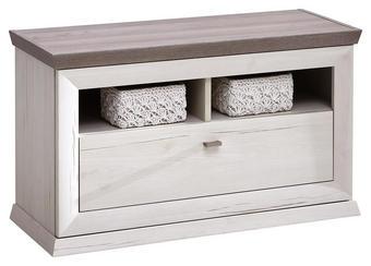 Garderobenbank - Weiß/Grau, Lifestyle, Holzwerkstoff/Metall (85,2/50,5/38,3cm) - Hom`in