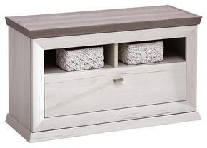 HALLBÄNK - vit/nickelfärgad, Lifestyle, metall/träbaserade material (85,2/50,5/38,3cm) - Hom`in