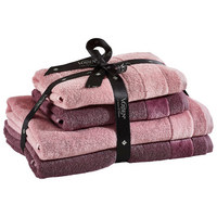 FROTTIERSET 4-teilig - Aubergine/Altrosa, Design, Textil - Vossen