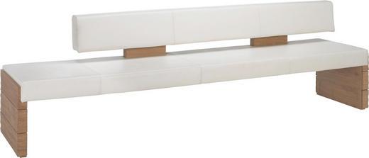 SITZBANK Echtleder Wildeiche massiv Eichefarben, Weiß - Eichefarben/Weiß, Design, Leder/Holz (274/84/65cm) - VOGLAUER