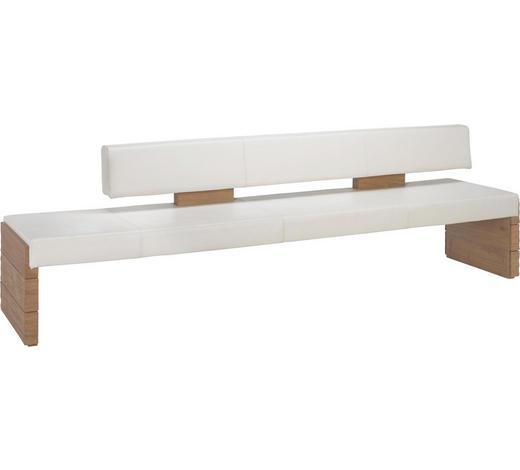 SITZBANK 274/84/65 cm  in Weiß, Eichefarben - Eichefarben/Weiß, Natur, Leder/Holz (274/84/65cm) - Voglauer