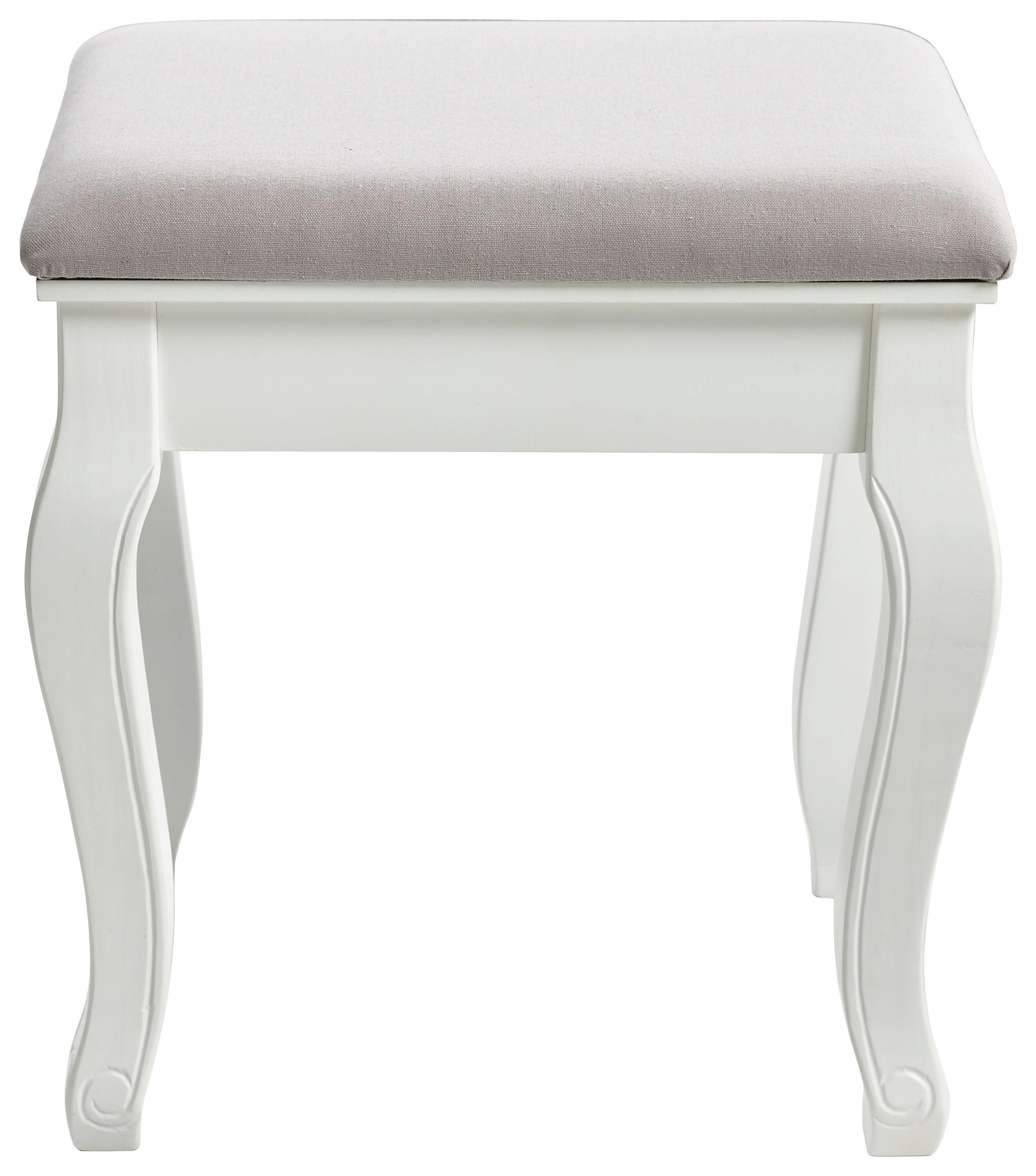 HOCKER Kiefer massiv Grau, Weiß - Weiß/Grau, LIFESTYLE, Holz/Textil (40/45/30cm) - CARRYHOME