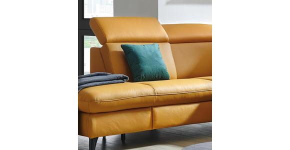 WOHNLANDSCHAFT in Leder Gelb  - Gelb/Schwarz, Design, Leder/Metall (285/239cm) - Cantus