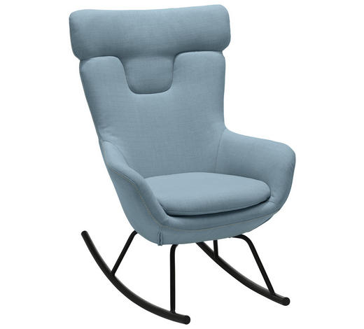 SCHAUKELSTUHL in Metall, Textil Blau, Grau - Blau/Schwarz, Design, Textil/Metall (76/109/77cm) - Carryhome