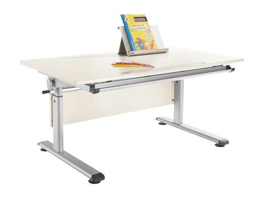 JUGENDSCHREIBTISCH Fichte massiv Silberfarben, Weiß - Silberfarben/Weiß, Design, Holz/Metall (120/70cm) - Paidi
