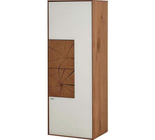 HÄNGEELEMENT Kerneiche vollmassiv Weiß, Eichefarben - Eichefarben/Weiß, Design, Glas/Holz (50/136,5/39cm) - Valnatura