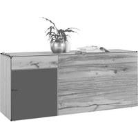 SIDEBOARD Altholz, Eiche furniert, mehrschichtige Massivholzplatte (Tischlerplatte) geölt, gebürstet Anthrazit, Eichefarben  - Eichefarben/Anthrazit, Natur, Glas/Holz (192/82/51,6cm) - Voglauer