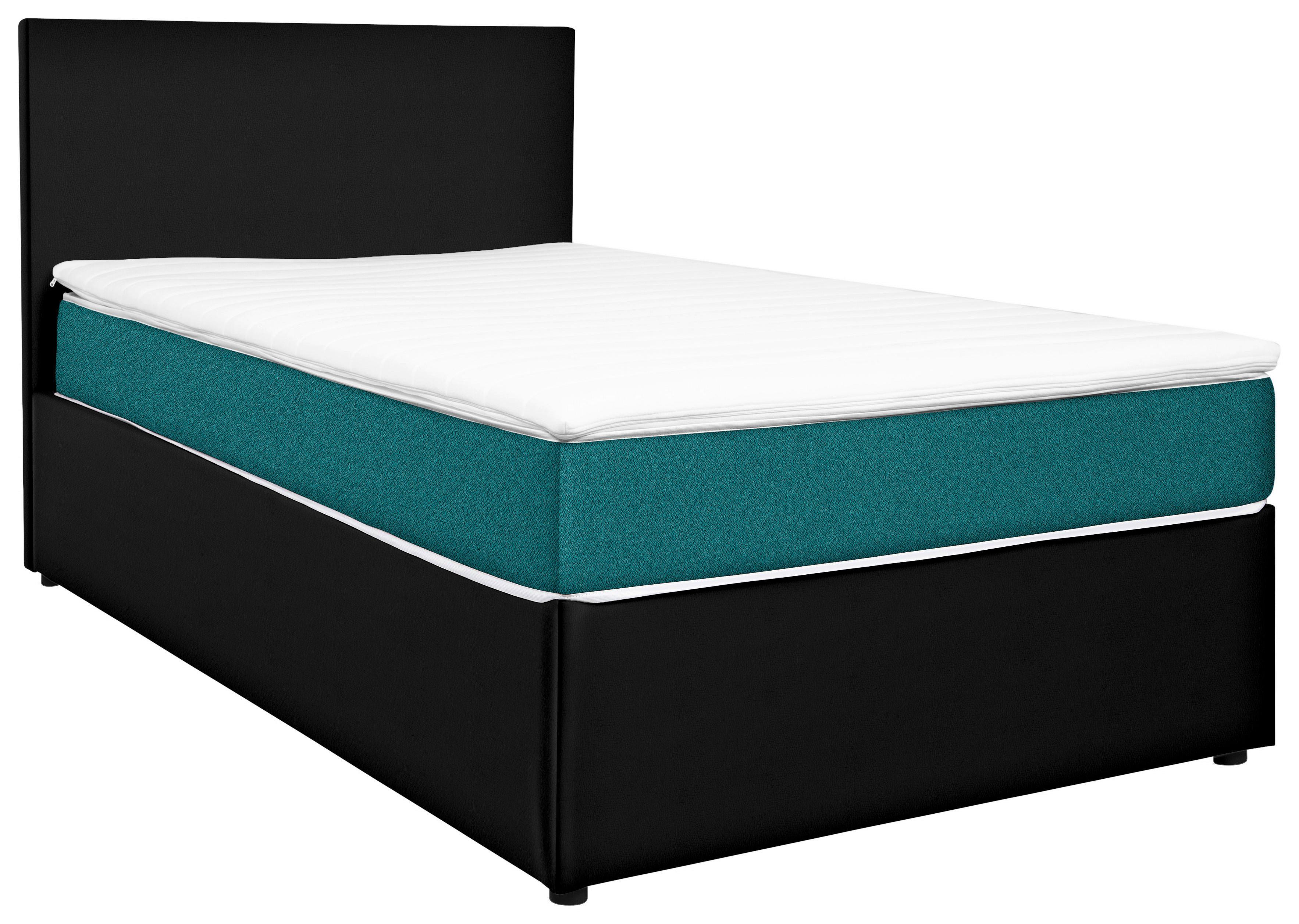 Levně Carryhome POSTEL BOX, 160/200 cm, textil, kompozitní dřevo, černá, tyrkysová - černá, tyrkysová