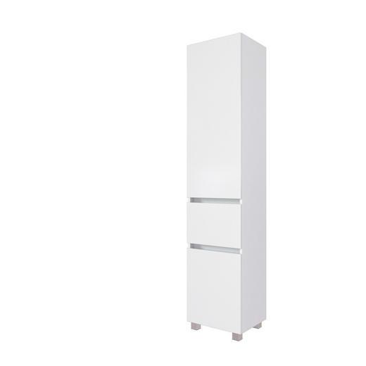 SEITENSCHRANK Weiß - Silberfarben/Weiß, Natur, Holzwerkstoff/Kunststoff (40/180/35cm) - Carryhome