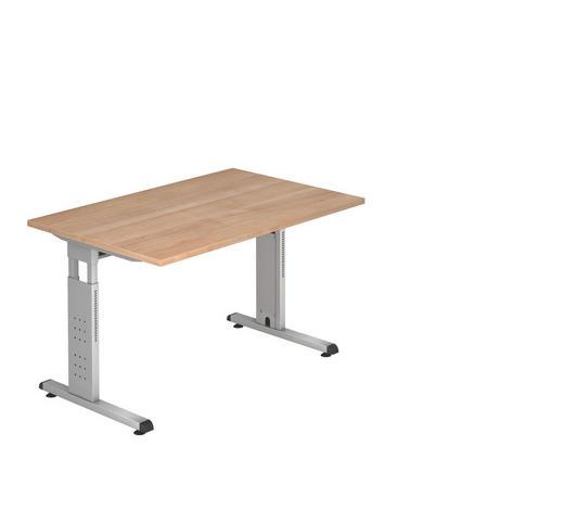 SCHREIBTISCH - Silberfarben/Nussbaumfarben, KONVENTIONELL, Holzwerkstoff/Metall (120/65-85/80cm)