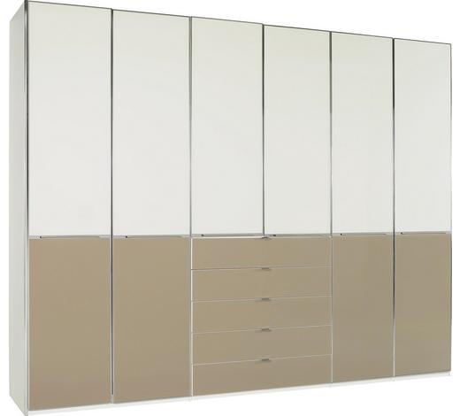 DREHTÜRENSCHRANK in Weiß, Magnolie, Sahara - Chromfarben/Magnolie, Design, Glas/Holzwerkstoff (300/236/62cm) - Novel