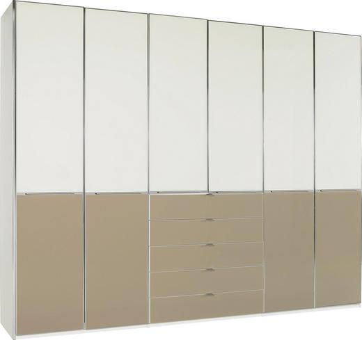 DREHTÜRENSCHRANK 6-türig Magnolie, Sahara, Weiß - Chromfarben/Magnolie, KONVENTIONELL, Glas/Holzwerkstoff (300/236/62cm) - Novel