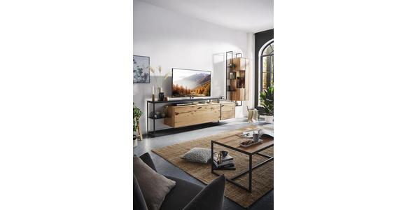 LOWBOARD 246/78/50 cm  - Eichefarben/Schwarz, Natur, Glas/Holz (246/78/50cm) - Valnatura