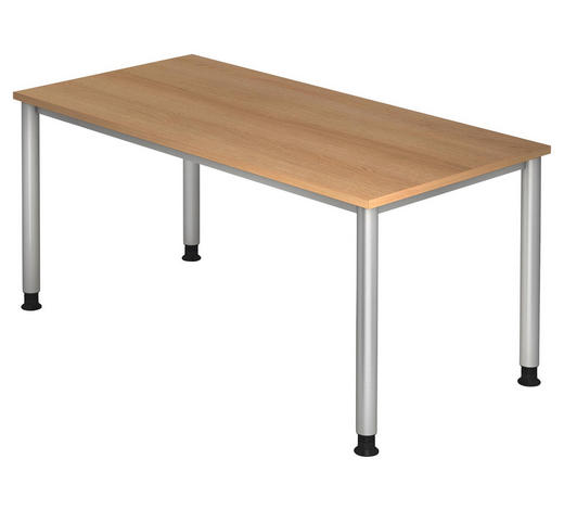 SCHREIBTISCH in Metall, Holzwerkstoff 160/68 (76)/80 cm  - Eichefarben/Silberfarben, KONVENTIONELL, Holzwerkstoff/Metall (160/68 (76)/80cm)
