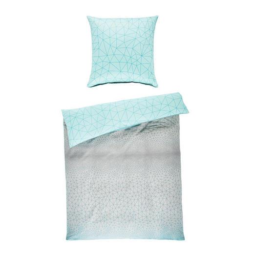 BETTWÄSCHE Makosatin Blau, Grau 135/200 cm - Blau/Grau, Design, Textil (135/200cm) - Novel