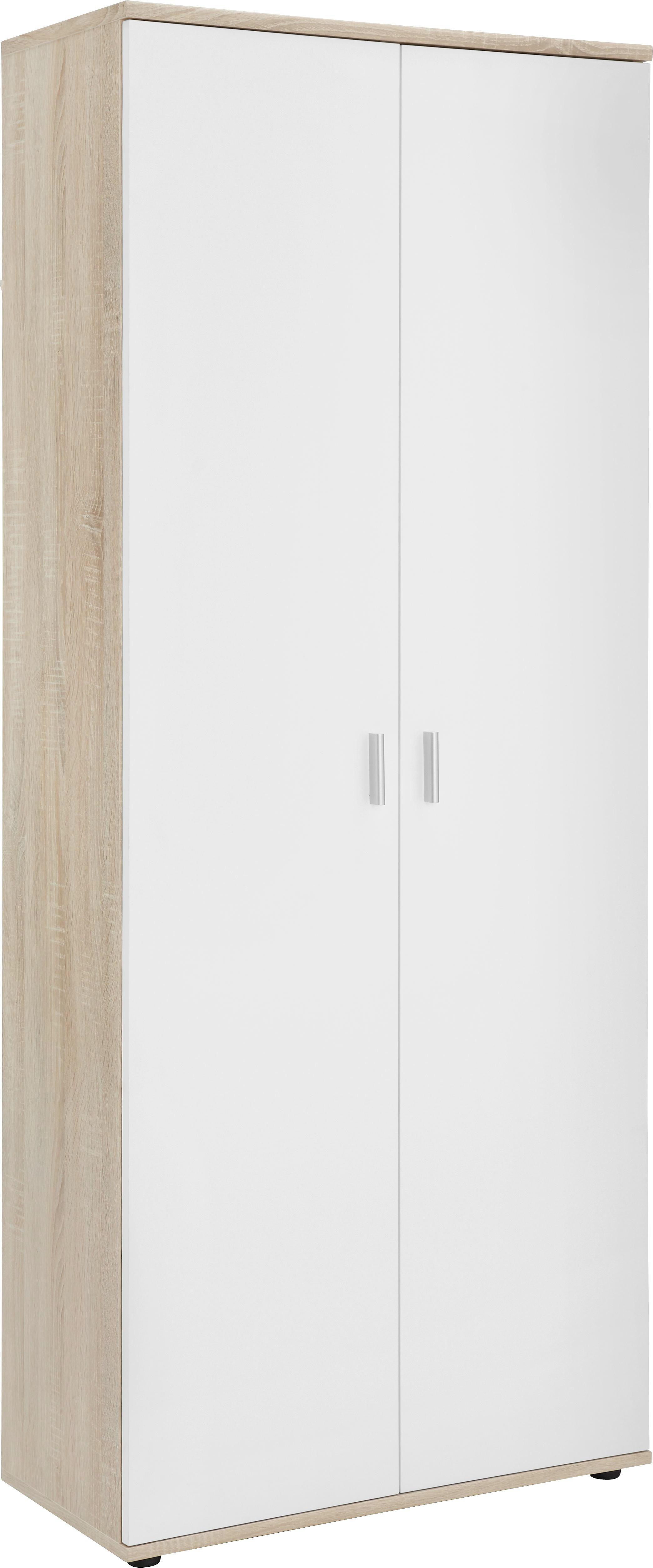 SCHUHSCHRANK Eichefarben, Weiß - Eichefarben/Silberfarben, Design, Holzwerkstoff/Kunststoff (69/176/35cm)