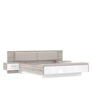 KREVET - Bela/Boja hrasta, Dizajnerski, Tekstil/Plastika (284(180)/87/234(200)cm) - Xora