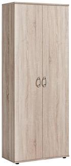 SCHUHSCHRANK Sonoma Eiche - Silberfarben/Sonoma Eiche, Design, Holzwerkstoff/Kunststoff (70/176/35cm) - CARRYHOME