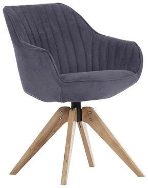 STOL - mörkgrå/ekfärgad, Design, trä/textil (60/83/65cm) - Hom`in