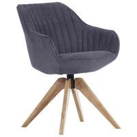 Stuhl in Holz, Textil Dunkelgrau - Dunkelgrau/Eichefarben, Design, Holz/Textil (60/83/65cm) - Hom`in