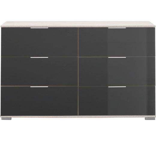 KOMMODE 130/83/41 cm - Alufarben/Grau, Design, Glas/Holzwerkstoff (130/83/41cm) - Carryhome