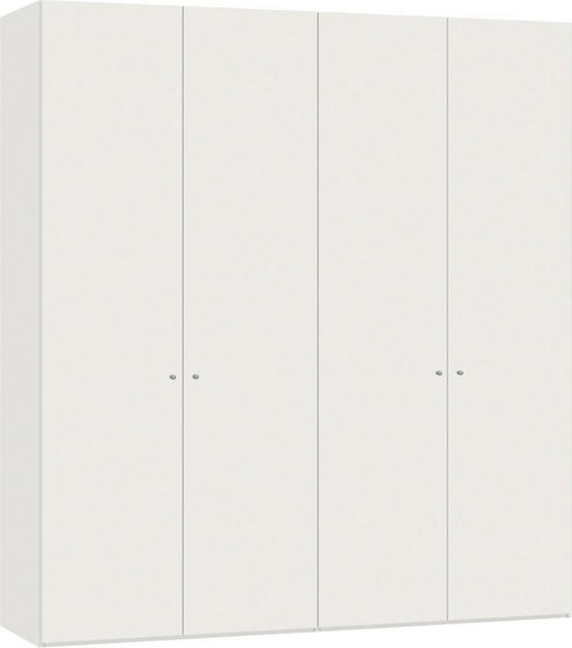 DREHTÜRENSCHRANK 4  -türig Weiß - Silberfarben/Weiß, Design, Holzwerkstoff/Metall (202,5/220/59cm) - JUTZLER