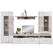 DNEVNI REGAL,  bela, hrast - aluminij/črna, Design, umetna masa/steklo (330/209/52cm) - Carryhome