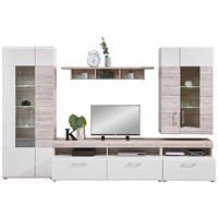 OBÝVACÍ STĚNA, barvy dubu, bílá - bílá/barvy dubu, Design, dřevěný materiál/umělá hmota (330/209/52cm) - Carryhome