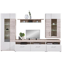 OBÝVACÍ STĚNA, barvy dubu, bílá - bílá/barvy dubu, Design, kompozitní dřevo/umělá hmota (330/209/52cm) - Carryhome