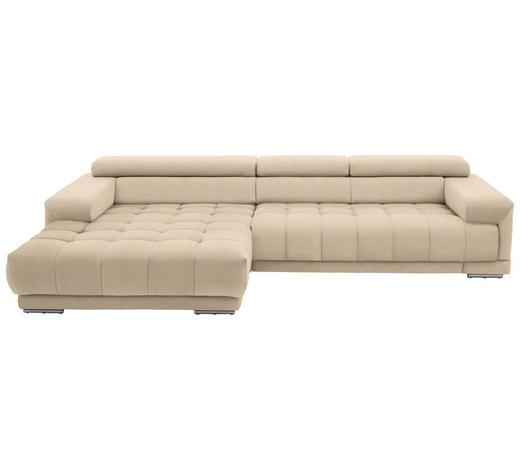 WOHNLANDSCHAFT in Textil Beige  - Beige/Silberfarben, Design, Textil/Metall (190/335cm) - Beldomo Style