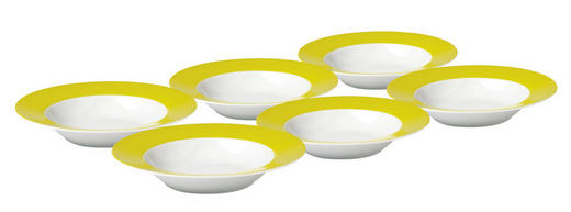 SUPPENTELLERSET Keramik Porzellan 6-teilig - Gelb/Weiß, Basics, Keramik (22cm)