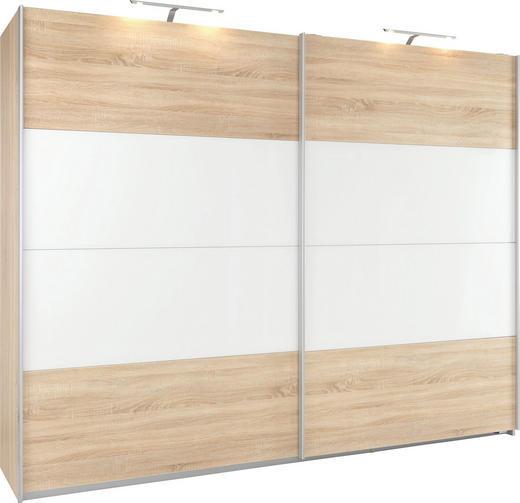 SCHWEBETÜRENSCHRANK 2-türig Sonoma Eiche, Weiß - Alufarben/Weiß, KONVENTIONELL, Glas/Holzwerkstoff (226/229/62cm) - Xora